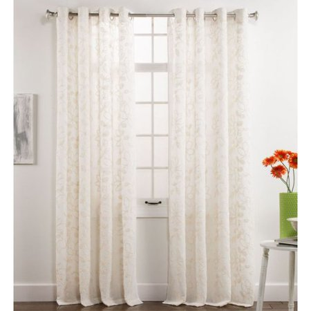 belle maison darcy chenille ivory grommet top curtain panel 84 in long. Black Bedroom Furniture Sets. Home Design Ideas