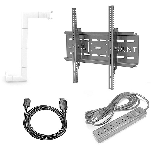 Level Mount Tilt Wall Mount Bundle for 26 - 57 in. TVs with HDMI Cable and Surge Protector and Cord Cover