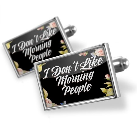 Cufflinks Floral Border I Don't Like Morning People - NEONBLOND
