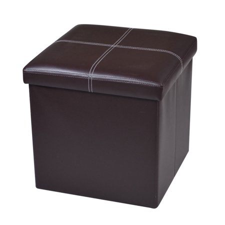 Brown Cube Storage Ottoman - Zimtown Folding Cube Ottoman Foot Stool Box Footrest Seat Stool Storage Furniture Home Decor Brown