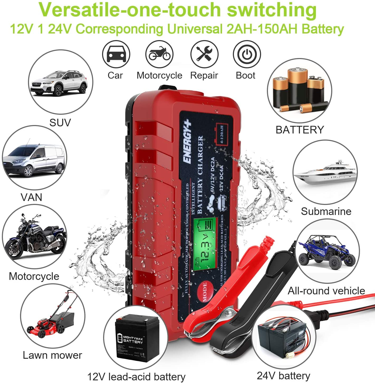 ATV Motorcycle SUV Boat RV Wet Dry Lead Acid Battery-Chargers with Digital LCD Display for Car 12V 6A Smart Battery Charger//Maintainer Kecheer Battery Charger Full Automotive Lawn Mower