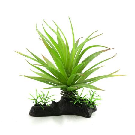 Green Plastic Terrarium Leaves Plant Amphibian Reptile Habitat w Ceramic Base](Plastic Reptiles)