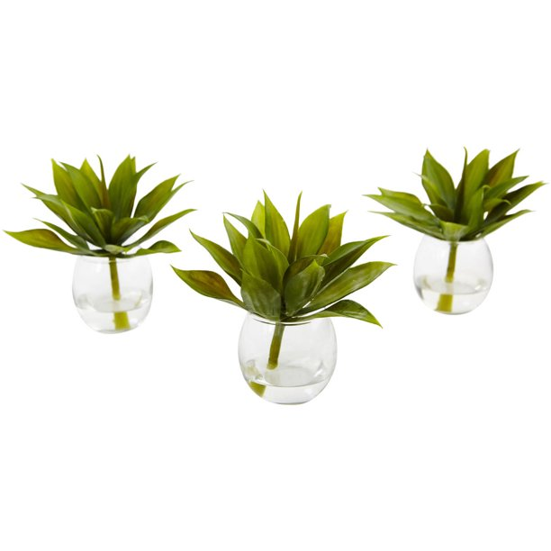 Nearly Natural 5 75in Artificial Agave Succulent With Vase Set Of 3 Walmart Com Walmart Com