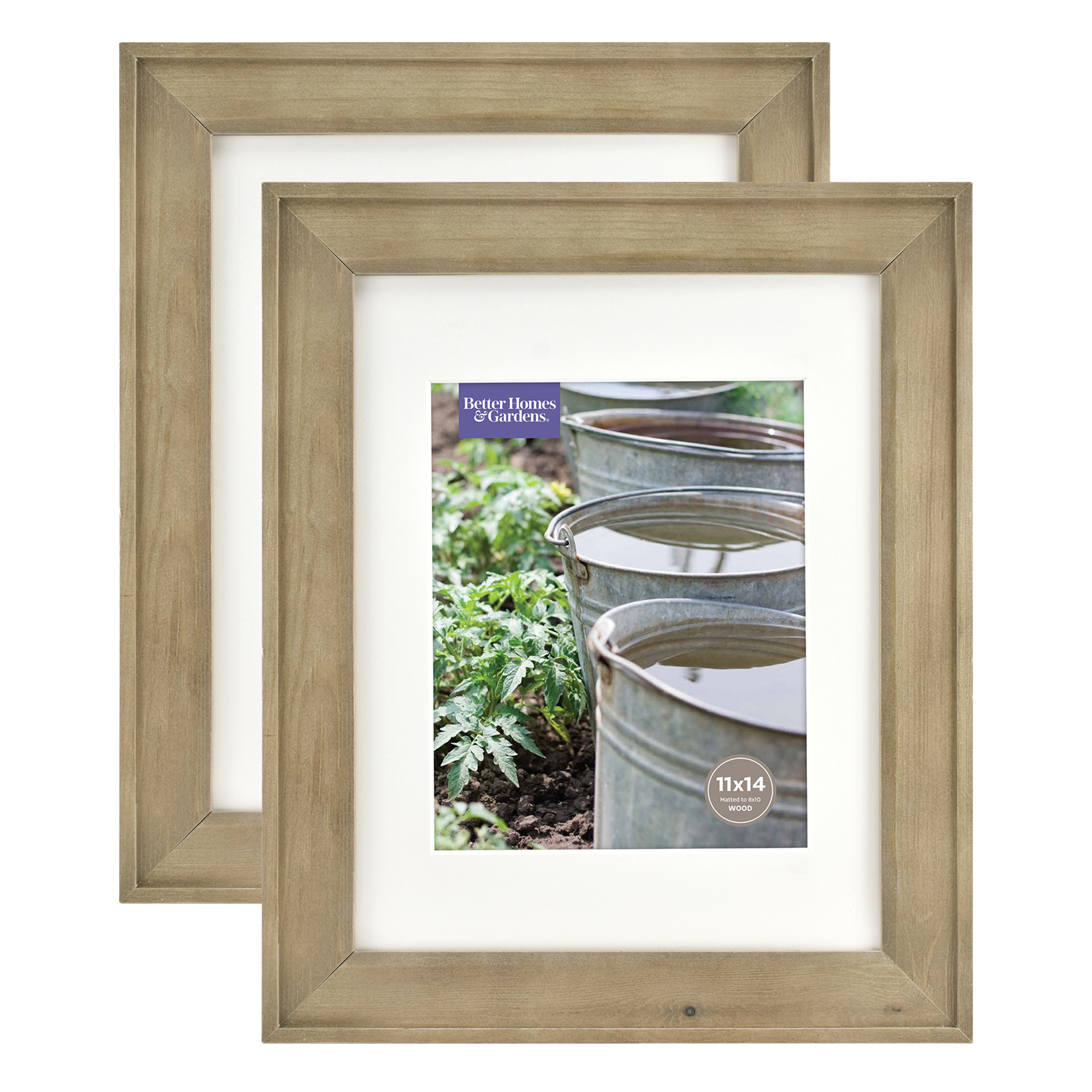 Better Homes & Gardens 11x14/8x10 Rustic Wood Picture Frame, 2pk ...