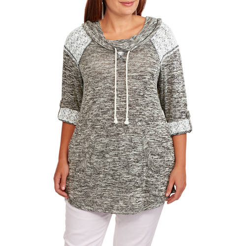 Miss Chievous Women's Plus Hacci Tunic Cowl Neck with Lace Trim