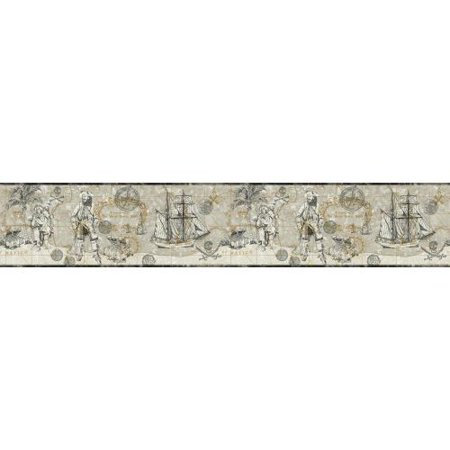 Pirates Wallpaper Cut Outs (York Wallcoverings ZB3101B Pirate Map)