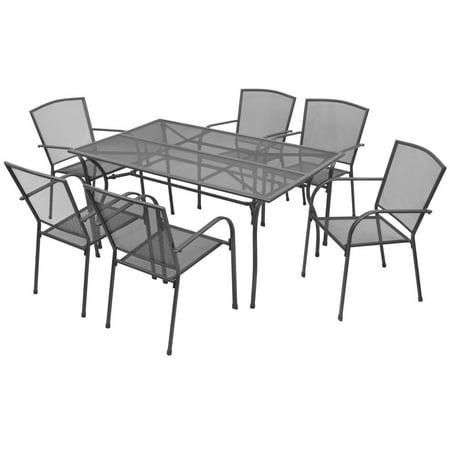 7 Piece Outdoor Dining Set Steel Mesh ()