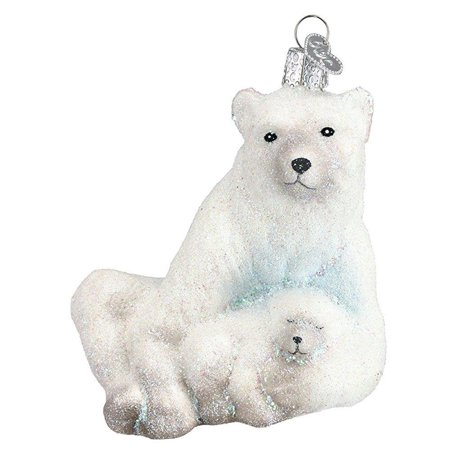 Cubs Christmas Ornament (Old World Christmas Ornaments: Polar Bear With Cub Glass Blown Ornaments for Christmas Tree)