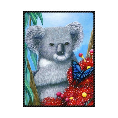 CADecor Art Painting Koala Blue Butterfly On The Flower Fleece Blanket Throws 58x80 inches