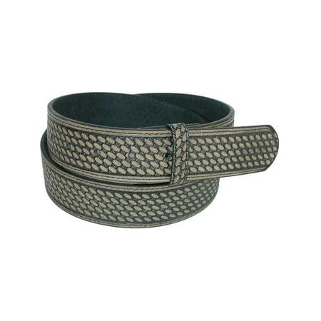 Men's Leather Basketweave No Buckle Belt Strap,  (Black Leather Basketweave)