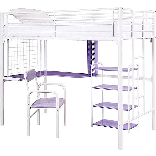 Twin Over Desk Loft Bed W Bookshelf Chair Whitepurple Cont
