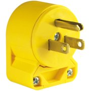 Cooper 4867AN-BOX Grounded Angled Electrical Plug, 125 VAC, 15 A, 2 P, 3 W, Yellow