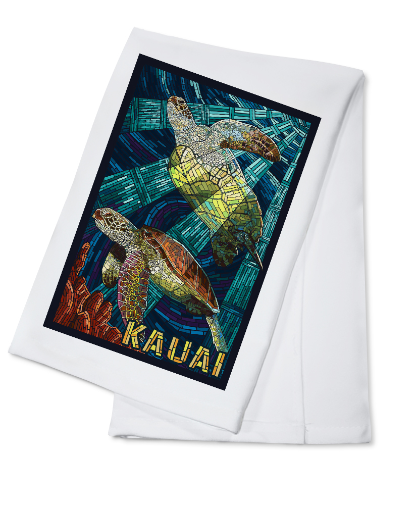 Kauai, Hawaii Sea Turtle Mosaic Lantern Press Artwork (100% Cotton Kitchen Towel) by Lantern Press