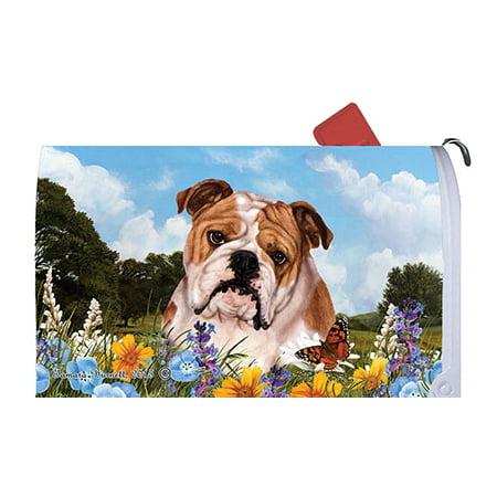 Bulldog - Best of Breed Summer Flowers Dog Breed Mail Box Cover (Georgia Bulldog Mailbox Cover)