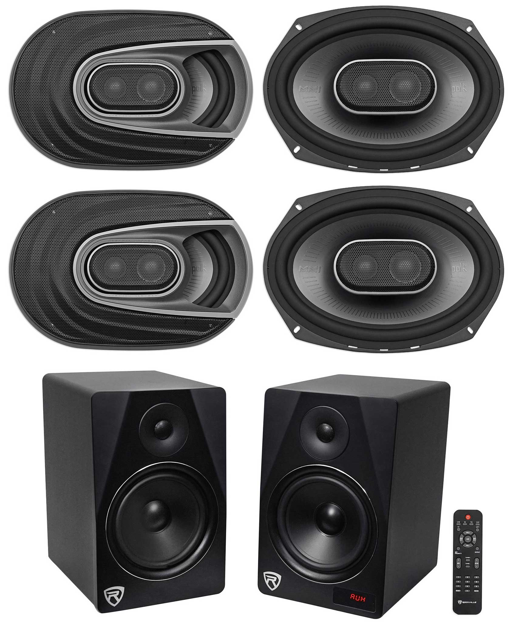 4) Polk Audio MM692 6x9� 1800w 3-Way Car Audio Speakers+Free Home Theater System by Polk%27s Meat