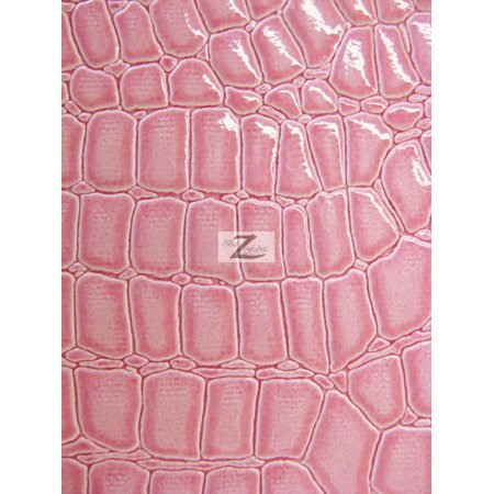 Vinyl Faux Fake Leather Pleather Embossed Shiny Alligator Fabric / Pink / Sold By The Yard