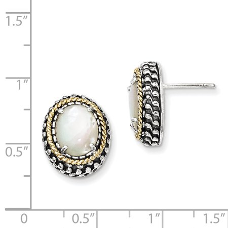 Sterling Silver Two Tone Silver And Gold Plated Sterling Silver w/MOP Post Earrings - image 1 of 2