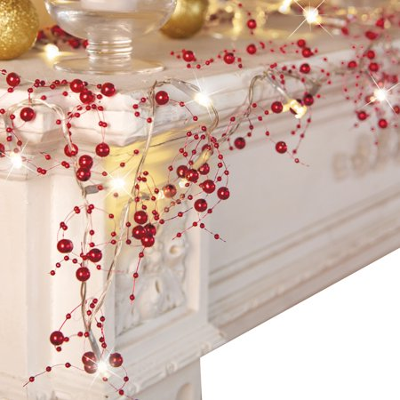 indoor christmas decorations festive lighted berry beaded garland red walmartcom