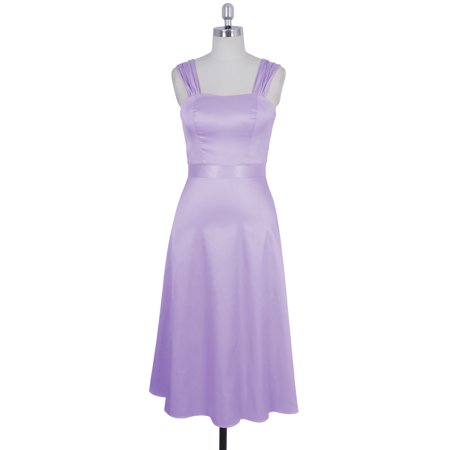 Formal Dress Wide Straps Tea Length Evening Gown Bridesmaid Wedding Party - 12,Lavender