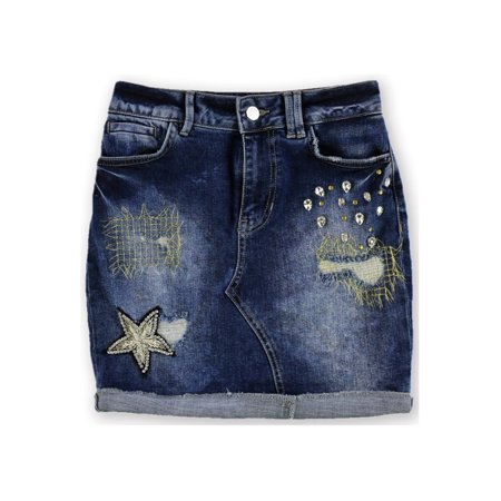 GUESS Womens Embellished Denim Mini Skirt constellation (Guess Spandex Skirt)
