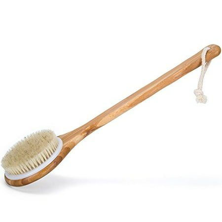 Best Dry Body Brush for Skin Brushing Natural Boar Bristles, Long Handle, Bamboo Spa Brush - Dry Brushing for Cellulite, (Best Thing For Dry Cuticles)