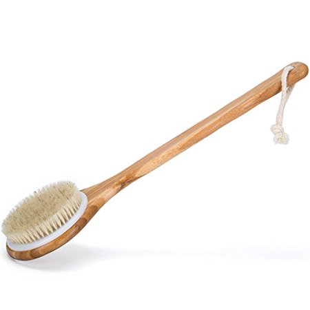 Best Dry Body Brush for Skin Brushing Natural Boar Bristles, Long Handle, Bamboo Spa Brush - Dry Brushing for Cellulite,