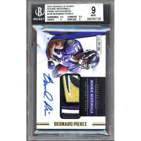 - 2012 rookies & stars rookie materials prime autographs #228 BERNARD PIERCE BGS 9