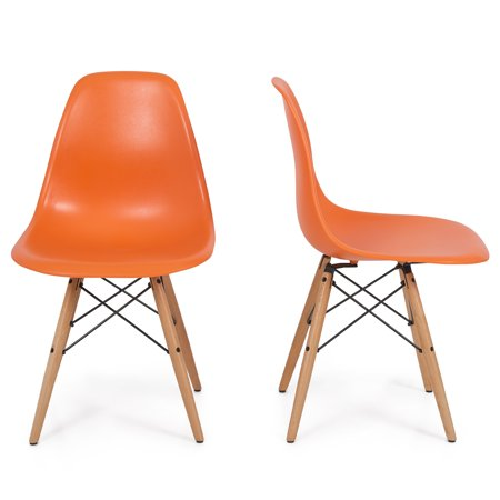 Belleze Set Of 2  Dsw Plastic Molded Side Dining Chair Modern Natural Wood Leg  Orange