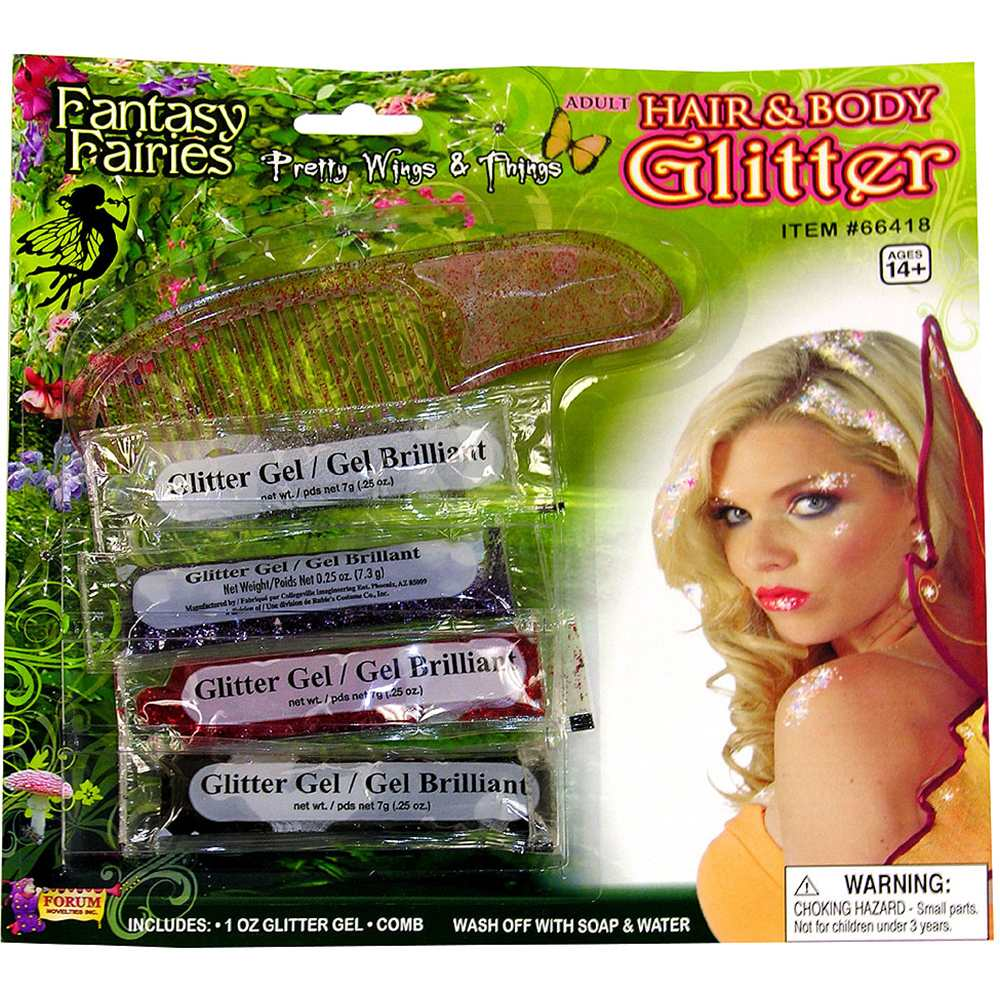 4 Color Water Washable Halloween Costume Hair and Body Glitter Set