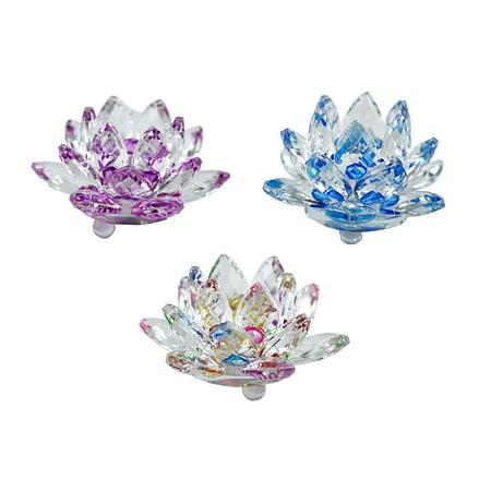 - Set of 3 inch Lotus Flower Sapphire Sparkle Crystal - Multicolor New (purple blue rainbow) New