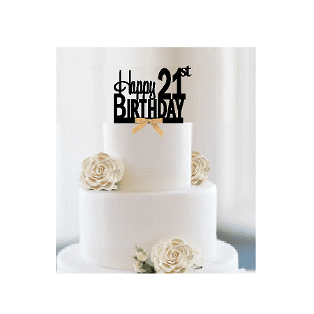 Item#021CTGR - Happy 21st Birthday Elegant Cake Decoration Topper with Gold Bow