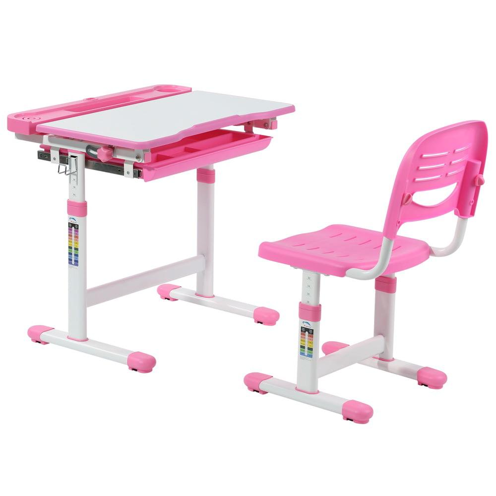 Avicenna Kids Desk Chair Set Children S Ergonomic With Desktop Tilt Feature Height Adjule Study Table Pink