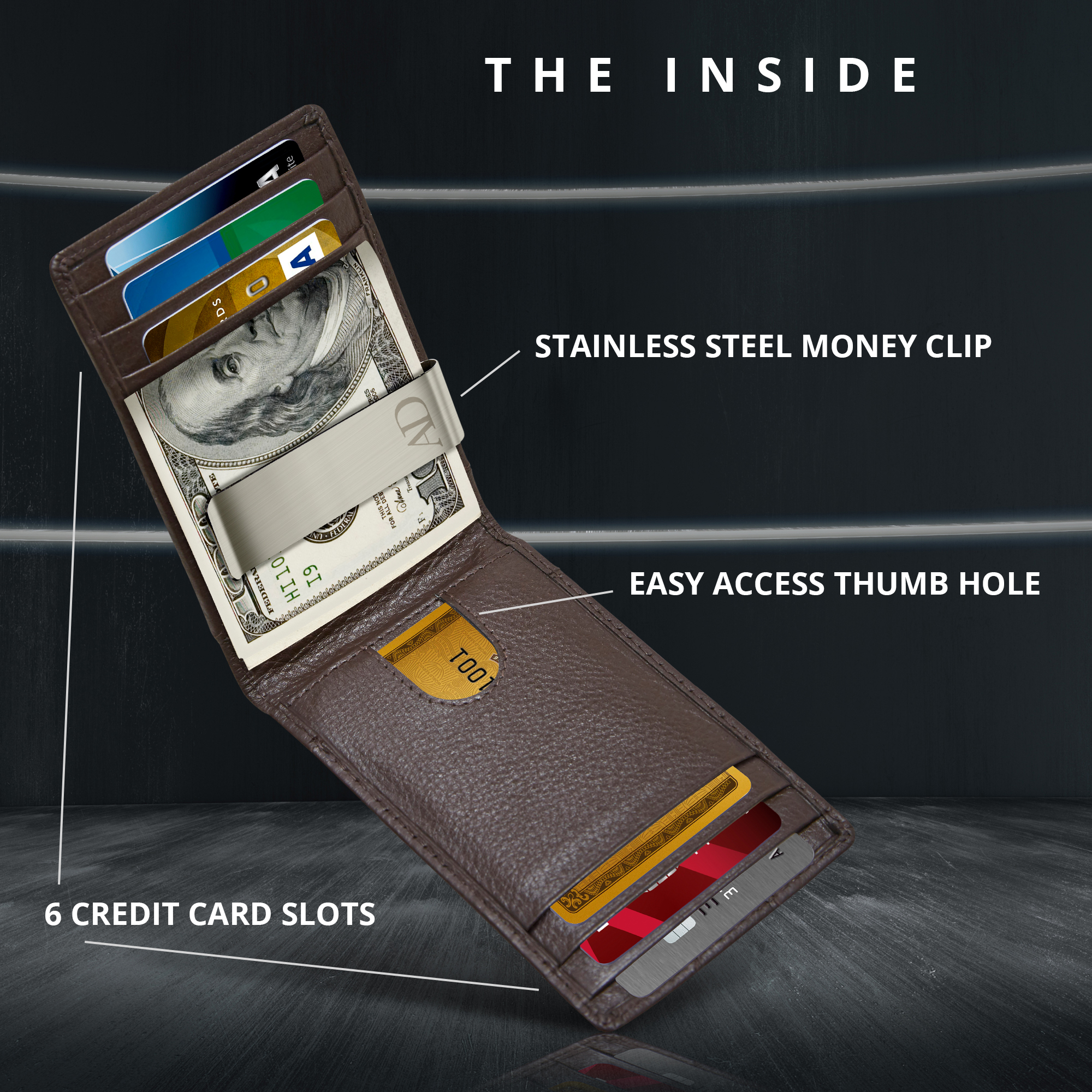 1 x money clip note credit card holder stainless mens wallet ladies purse bag