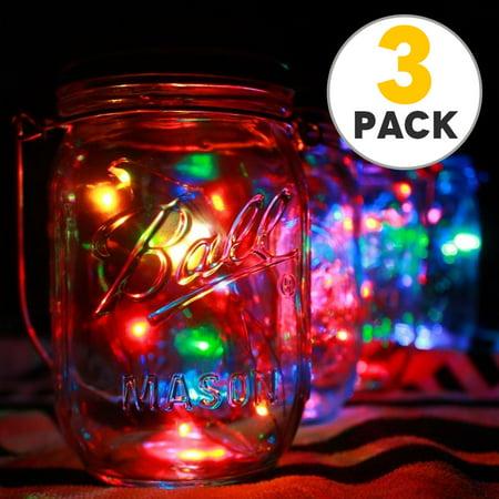 3pcs Solar Mason Jar Lid Lights, 10 Led String Fairy Star Firefly Jar Lids Lights, Perfect for Mason Jar Decor, Patio Garden Decor Solar Laterns Table Lamp ()