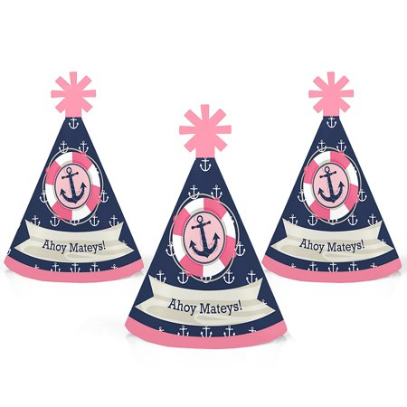 Ahoy - Nautical Girl - Mini Cone Baby Shower or Birthday Party Hats - Small Little Party Hats - Set of 10 (Nautical Birthday Hat)