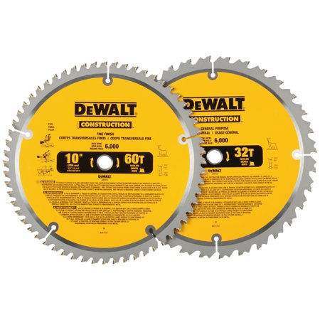 "DeWalt® Construction™ 10"" 60T Fine Finishing & 32T General Purpose Saw Blades 2 pc Pack 10 General Purpose Blade"