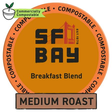 SF Bay Coffee Breakfast Blend 120 Ct Medium Roast Compostable Coffee Pods, K Cup Compatible including Keurig 2.0