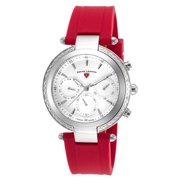 16175Sm-02-Rds Madison Diamond Multi-Function Red Silicone White Dial Stainless Steel Watch