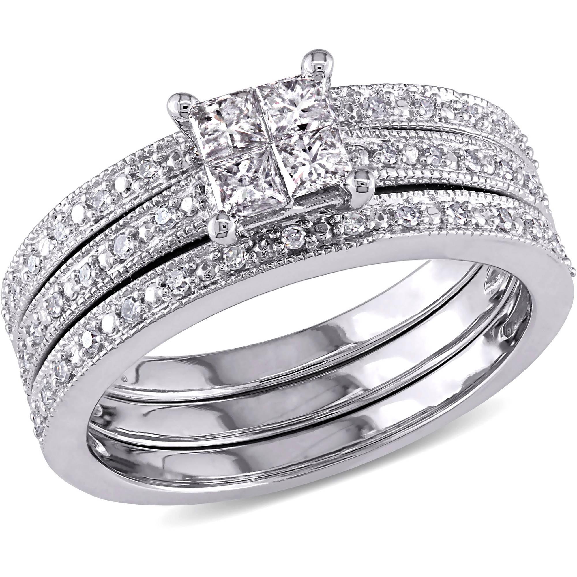Miabella 3 8 Carat T.W. Princess and Round-cut Diamond 10kt White Gold Bridal Set by Miabella