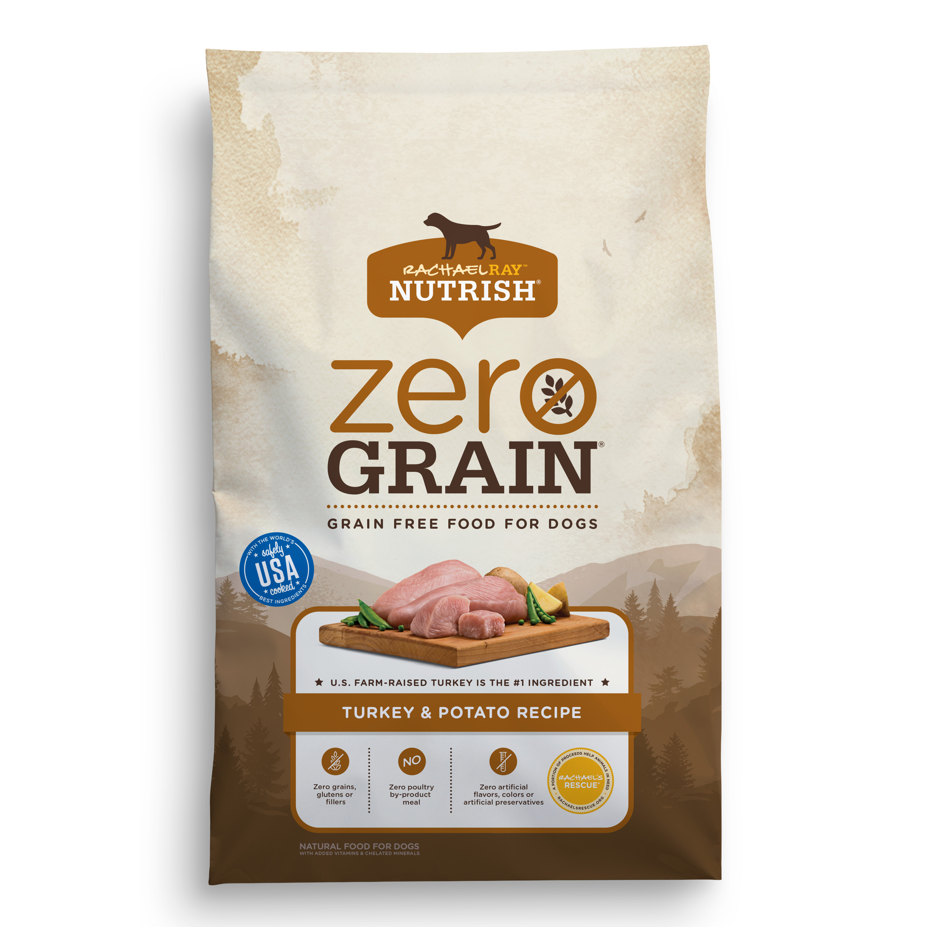 Rachael Ray Nutrish Zero Grain Natural Dry Dog Food, Grain Free, Turkey & Potato Recipe, 14 lbs