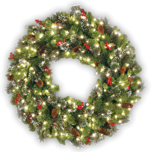 National Tree Co. Crestwood Spruce Wreath with 50 Clear Lights