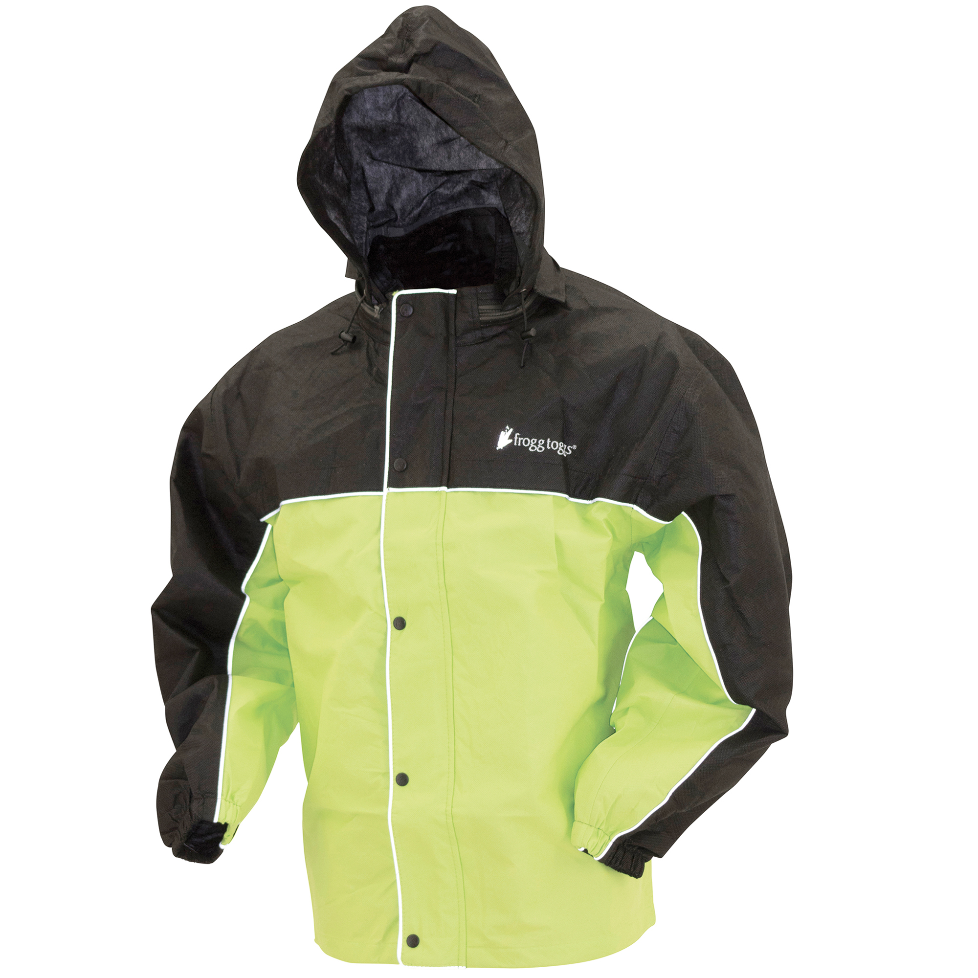 Frogg Toggs Road Toad Reflective Motorcycle Rain Jacket HiVis Green & Black LG