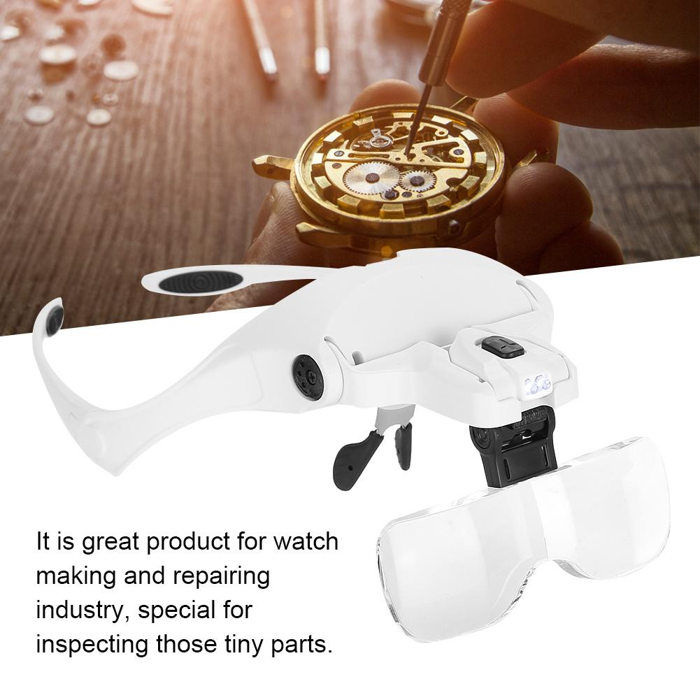 Tbest Eyeglass-Type Headband Magnifier with 5 Lens LED Light for Jewelry Checking Watch Repairing , Magnifier with 5 Lens,Magnifier