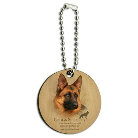 German Shepherd Dog Breed Wood Wooden Round Keychain Key Chain Ring ()
