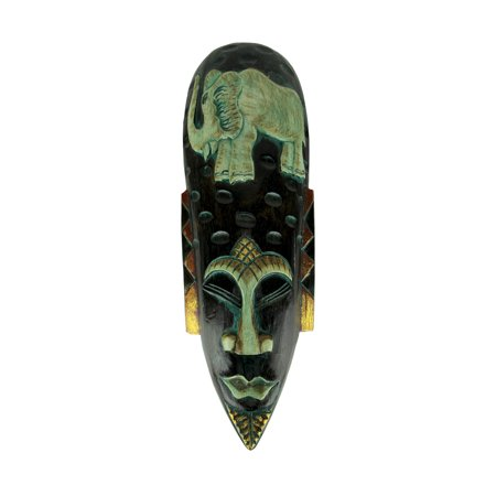 - Hand Carved Wood Indonesian Jenggot Wall Mask Elephant Design