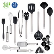 23Pcs Kitchen Utensil Sets Silicone Cooking Set Nonstick Cooking Supplies Kitchen Accessories Gadget Tools Stainless Steel Non-Stick Heat Resistant Cookware set Useful Pots and Pans Accessories