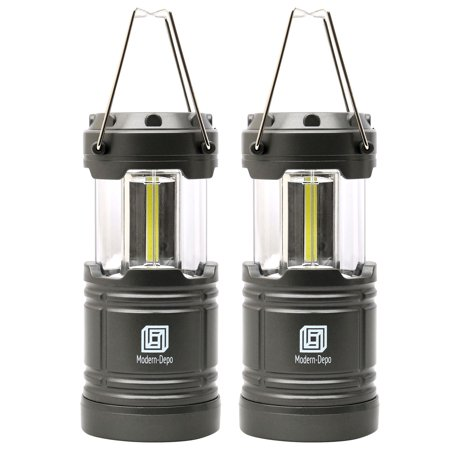 2-Pack LED Camping Lantern Battery Operated Portable Flashlights with Magnets | Collapsible Waterproof Shockproof COB LED Technology Emits 350 Lumens for Emergency Hurricane Outage (Silver) - Battery Operated Lantern