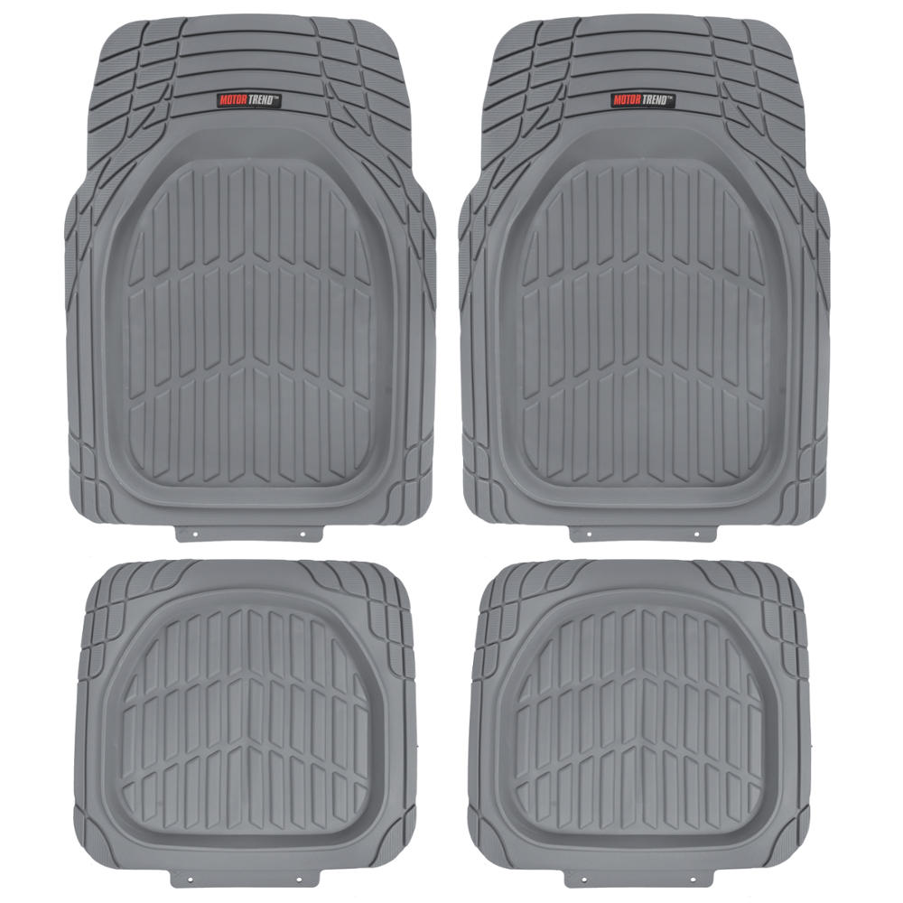 MotorTrend FlexTough Tortoise, Heavy-Duty Rubber Floor Mats for All Weather Protection, Deep Dish, Black