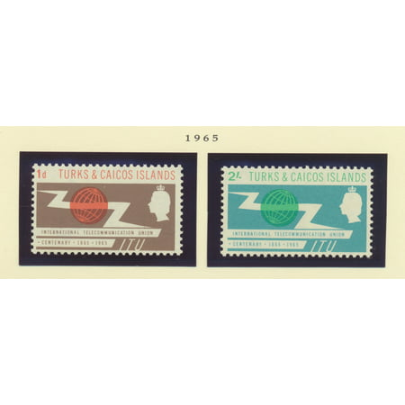 Turks and Caicos islands Scott #142 To 143 - Two Stamp ITU Centenary (International Telecommunication Union), British Commonwealth Common Design Issue From 1965 - Collectible Postage (Issue Stamp Cover)