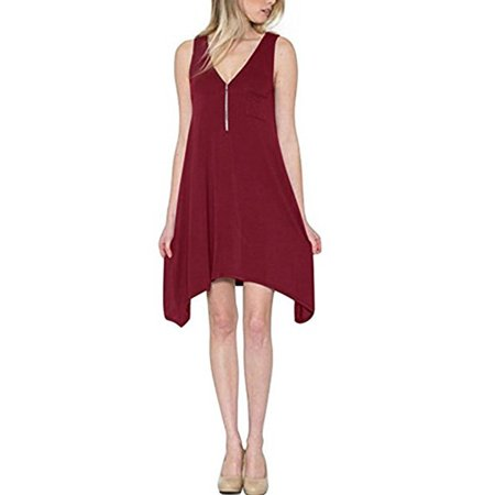 Zipper V-neck Women Sleeveless Solid Casual Loose Irregular Dress (Ladies Dresses Casual)
